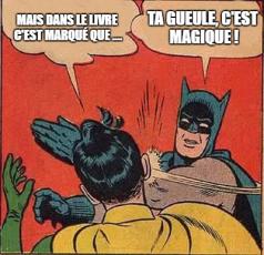 """Illustration de la citation """"ta gueule c'est magique"""" avec Batman giflant Robin"""